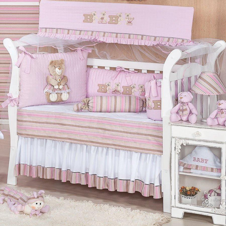 Kit de Berço Urso Baby Rosa Essencial Enxovais ~ Quarto Tema Rosa