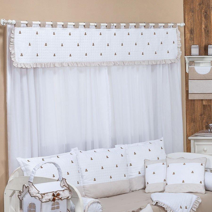 Cortina ursinhos luxo bege branco essencial enxovais - Cortinas de bebe ...