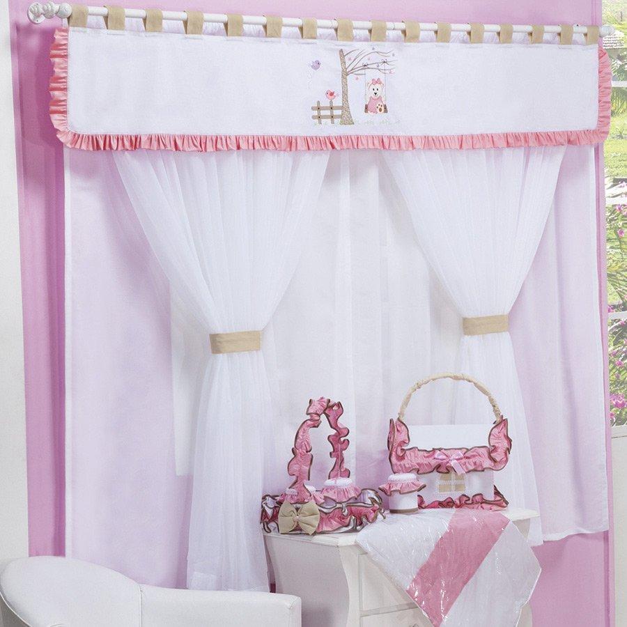 Cortina para quarto de beb menina ursinha balancinho rosa - Cortina para cuarto de bebe ...