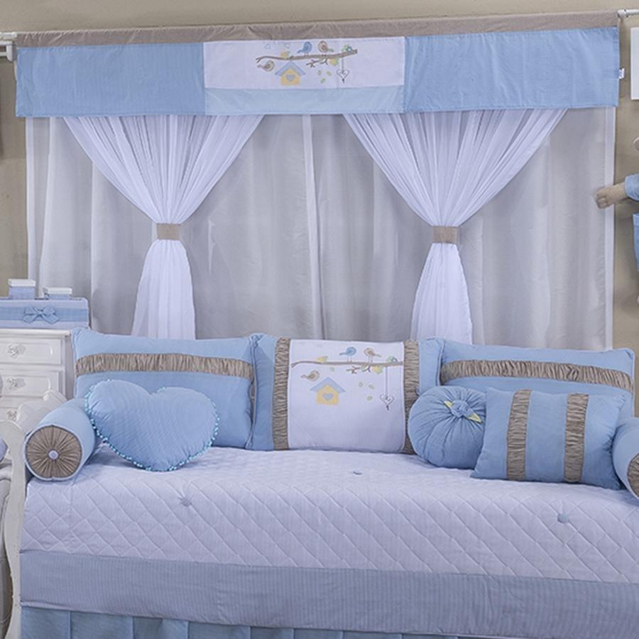Cortina Quarto Bebê Birds Azul  Essencial Enxovais