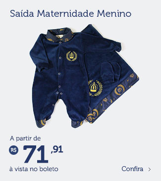 Saída de maternidade menino à partir de R$ 71,91 (à vista no boleto)