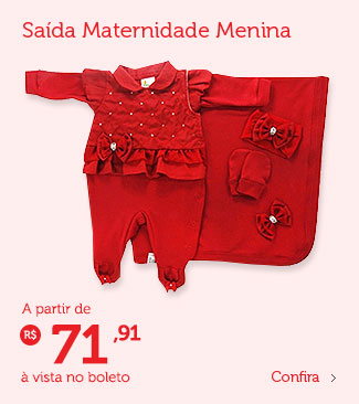 Saída de maternidade menina à partir de R$ 71,91 (à vista no boleto)